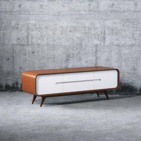 Wooden diy furniture vintage tv stand 3D render Foto de archivo - 114448599