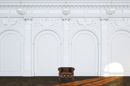3d render vintage sofa in classic white interior front view Foto de archivo - 114448602