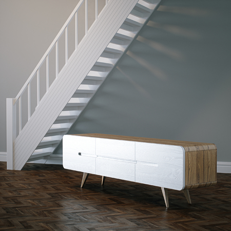 Concept vintage wooden nightstand in white interior with stairs 3D render Foto de archivo - 114448608