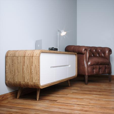 Nightstand in white interior with wooden parquet floor and leather armchair 3D render Foto de archivo - 114448614
