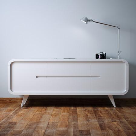 White vintage nightstand in white interior 3D render Foto de archivo - 114448641
