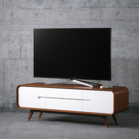 Tv on vintage wooden tv stand in concrete interior 3D render Foto de archivo - 114448646