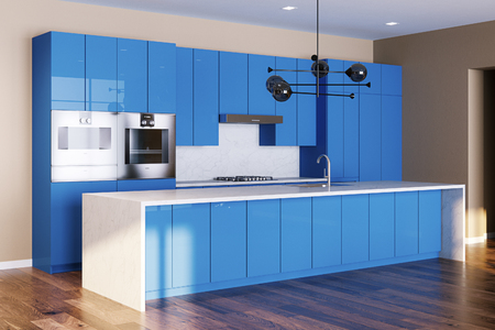 New kitchen interior with wooden floor and blue color cabinets 3d render 免版税图像