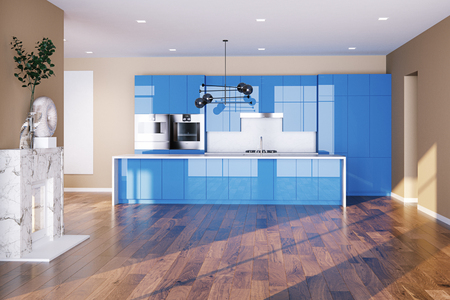 Spacious villa interior with blue kitchen furniture and fireplace 3d render Foto de archivo - 114448653