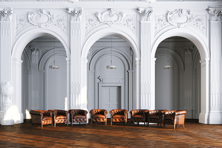 Big white classic interior museum hall with vintage leather armchair 3d render Foto de archivo - 114448658