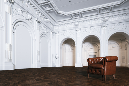 Big white classic interior museum hall with vintage leather armchair 3d render Foto de archivo - 114448659