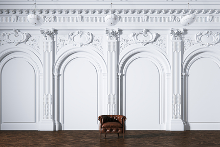 Big white classic interior museum hall with vintage leather armchair 3d render Foto de archivo - 114448661