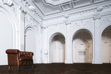 Big white classic interior museum hall with vintage leather armchair 3d render Foto de archivo - 114448663