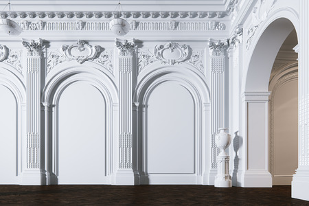 Big white classic interior museum hall with vintage leather armchair 3d render Foto de archivo - 114448664