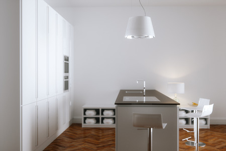 White kitchen interior with white furniture and wooden floor 3d render Foto de archivo - 114448666