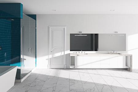 Hotel bathroom concept. Modern architecture interior design, 3d render Foto de archivo - 114448671