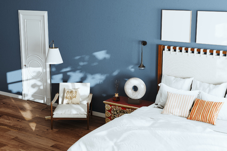 Cozy blue modern bedroom with lounge chair and floor lamp. 3d render close up Foto de archivo - 114448680