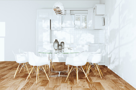 White dining room and classic kitchen interior 3d render Foto de archivo - 114448722
