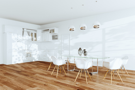 White dining room and classic kitchen interior 3d render Foto de archivo - 114448723