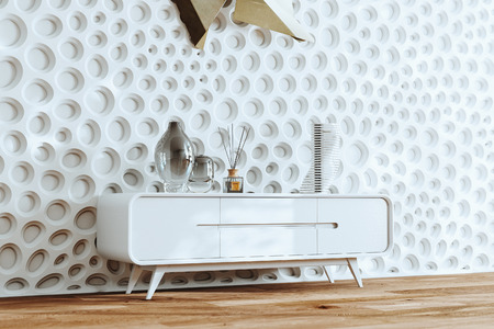 Vintage tv stand handmade furniture and glass vases decor in white interior 3d render Foto de archivo - 114448732