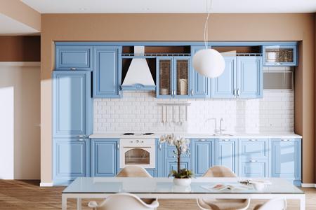Bella cucina classica blu in una nuova casa di lusso con pavimenti in legno e rendering 3d di elettrodomestici vintage