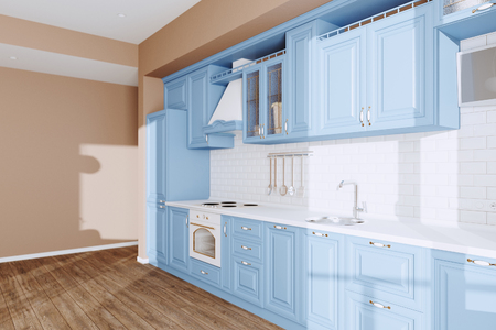 Beautiful Blue Classic Kitchen in new Luxury Home with  Hardwood Floors, and Vintage Appliances 3d render Foto de archivo - 114448753