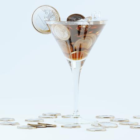 Money cocktail concept art 3D render Foto de archivo - 121607322