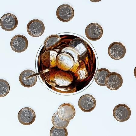 Money cocktail business concept art 3D render Foto de archivo - 121607325