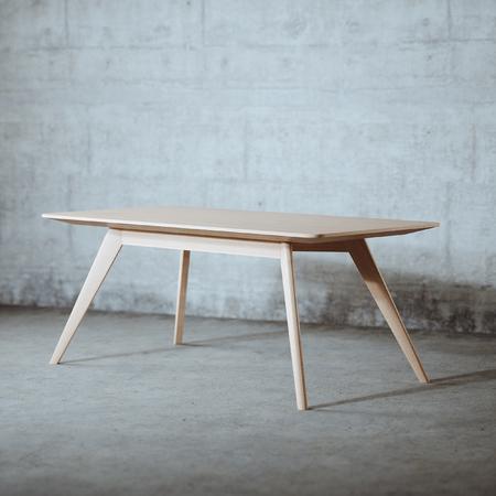 Mid century wood table in concrete interior 3d render Foto de archivo - 121607329