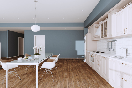 Beautiful Classic Kitchen in new Luxury Home with Hardwood Floors, and Stainless Steel Appliances 3d render