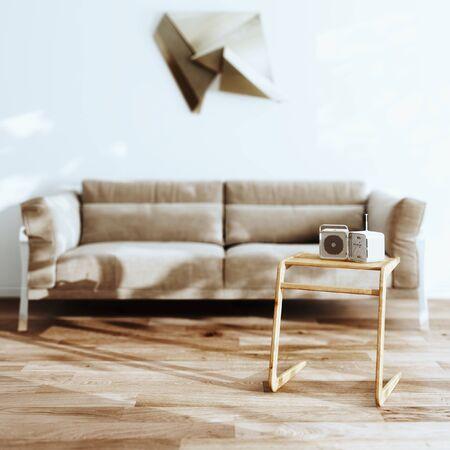 White Scandinavian interior with cozy sofa and wooden minimalistic coffee table 3d render Foto de archivo - 125475406