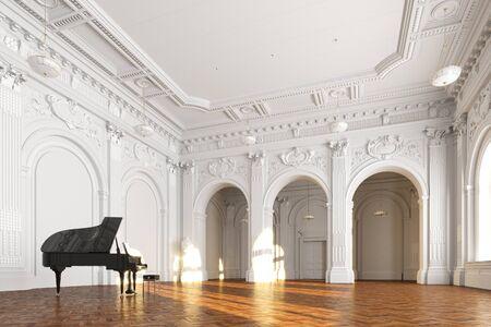 black grand piano in white church interior 3d render Foto de archivo