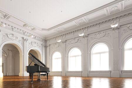 black grand piano in white ancient interior 3d render