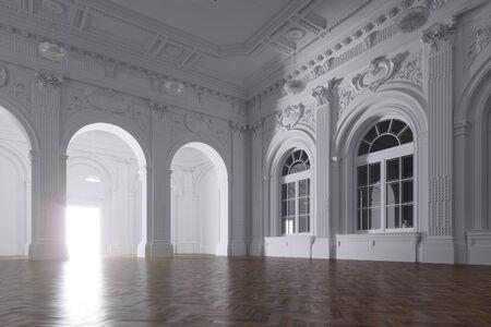 3d render of light in empty classic room through the opened door Stock Photo