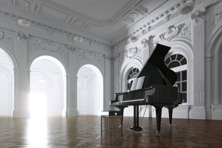 Black Grand Piano in White Classic Room 3d render