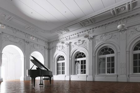 3d render of light in empty classic museum room with grand piano through the opened door