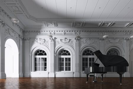 3d render of light in empty classic orchestra room with grand piano through the opened door Stok Fotoğraf