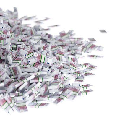 Stack of euro money. Conceptual illustration. Isolated on white background. Stock Photo