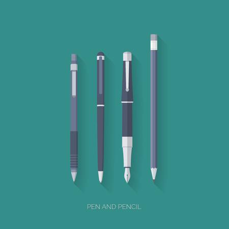 Dark blue pen, a fountain pen, pencil and mechanical pencil flat design with long shadows