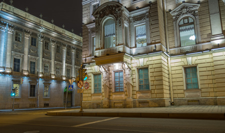 marble palace: Mansion JF Gromov (Kantemirovsky Palace) and the Marble Palace - Constantine Palace on the corner of a narrow and short lane with Marble Palace Embankment, is a tourist attraction of St. Petersburg, a place especially beautiful at night illuminated by flo