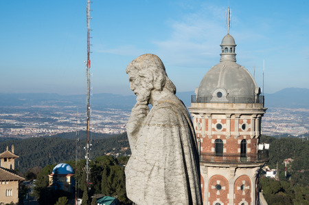 tibidabo: Temple of the Sacred Heart is located on Mount Tibidabo. Designed by the architect Enric Sagnier Stock Photo