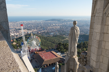 tibidabo: Temple of the Sacred Heart is located on Mount Tibidabo. Designed by the architect Enric Sagnier Editorial