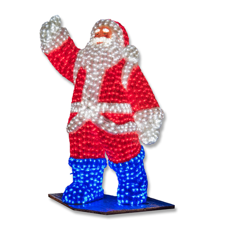 emphasize: Glowing Santa Claus welcomes lifted hand coming new year. Glowing light bulb emphasize the joy of the holiday and future