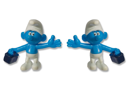 dwarfs: Smurfs fun toy dwarfs the characters known fairy tales and cartoons Stock Photo