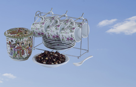 six persons: Chinese tea set for six persons made of white porcelain with color pattern