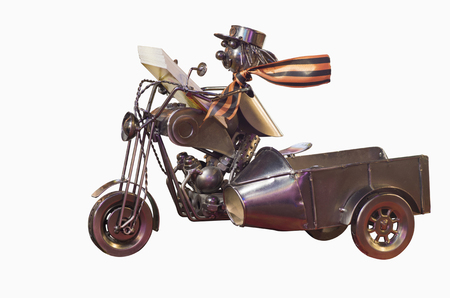 glands: model motorcycle with a rider from the different glands and wire nuts