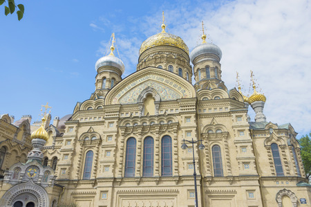 beautiful Christian church in St. Petersburg with golden domes and crosses Stock Photo