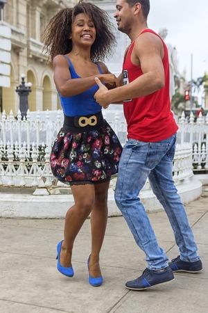 HAVANA, CUBA - JANUARY 04, 2018: Young couple dancing to Salsa