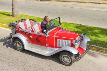 VARADERO, CUBA - JANUARY 05, 2018: Classic red Ford retro car