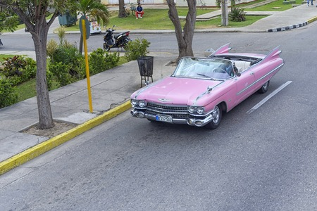 VARADERO, CUBA - JANUARY 05, 2018: Classic pink Cadillac retro