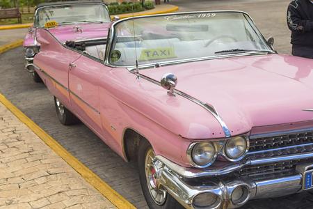 VARADERO, CUBA - JANUARY 05, 2018: Classic pink Cadillac retro caar Editorial