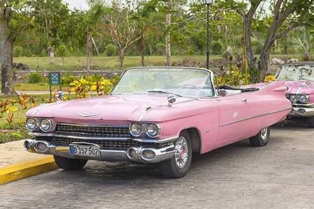 VARADERO, CUBA - JANUARY 05, 2018: Classic pink Cadillac retro car
