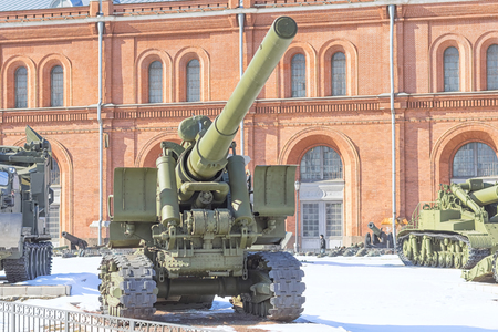 SAINT PETERSBURG, RUSSIA - MARCH 31, 2018: Artillery gun of the Second World War on courtyard of Military History Museum of artillery, engineer and signal corps in St. Petersburg