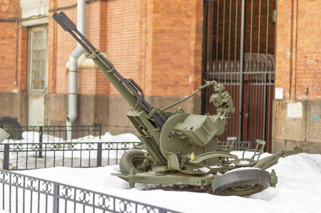 SAINT PETERSBURG, RUSSIA - MARCH 31, 2018: Air Artillery of the Second World War on courtyard of Military History Museum of artillery, engineer and signal corps in St. Petersburg Editorial