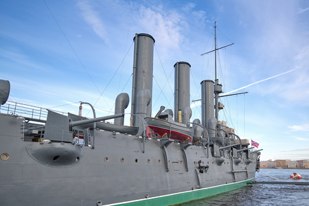 View of the Aurora Cruiser on the Neva River in St. Petersburg,